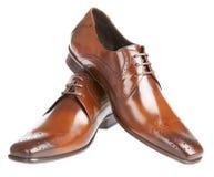 белизна человека s ботинка предпосылки Стоковое Изображение