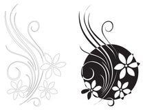 белизна черного декора флористическая Стоковые Фото