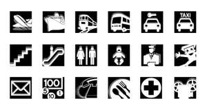 белизна черного обслуживания икон установленная Стоковое фото RF