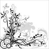 белизна черного состава флористическая Стоковые Изображения
