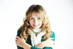 белизна шарфа девушки blong Стоковое Фото
