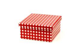 белизна checkered подарка коробки красная Стоковые Изображения RF