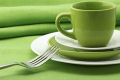 белизна dishware зеленая Стоковые Фотографии RF