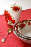 белизна dishware красная Стоковые Фото