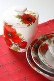 белизна dishware красная Стоковое Изображение RF
