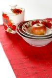 белизна dishware красная Стоковая Фотография