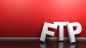 Белизна FTP пишет на красной стене - переводе 3D бесплатная иллюстрация