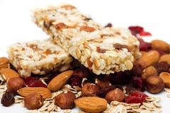 белизна granola штанги предпосылки Стоковое Изображение RF