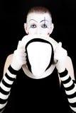 белизна mime удерживания шлема Стоковое Изображение RF