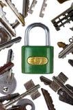 белизна padlock ключа предпосылки Стоковые Изображения