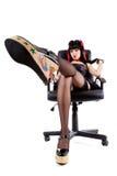 белизна pinup предпосылки изолированная девушкой самомоднейшая Стоковая Фотография