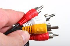 белизна rgb предпосылки изолированная кабелем Стоковые Изображения