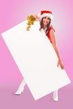 белизна santa бумаги удерживания хелпера девушки Стоковое фото RF