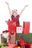 белизна santa шлема девушки подарков маленькая Стоковая Фотография