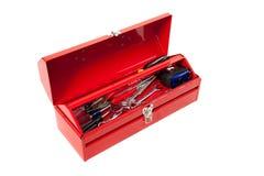 белизна toolbox металла предпосылки красная Стоковые Изображения RF