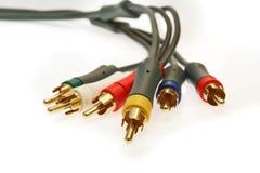 белизна tv разъемов кабелей предпосылки Стоковое Изображение