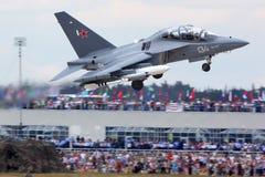 БЕЛИЗНА Yakovlev Yak-130 134 показанная на 100 летах годовщины русских военновоздушных сил в Zhukovsky Стоковое Фото
