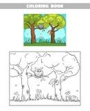 Белка сыча леса книжка-раскраски Стоковое Изображение RF