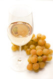 Белое вино и виноградины Стоковое фото RF