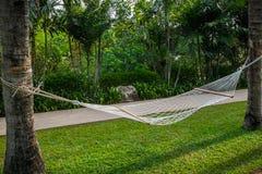 Белое вязание крючком knit с деревом удобное место, который нужно ослабить Стоковая Фотография RF