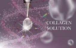 Белое падение сыворотки коллагена, hyaluronic кислота, косметическая рекламируя предпосылка готовая для использования, роскошное  иллюстрация штока