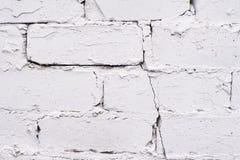 Белое покрытие Старая кирпичная кладка Неровная поверхность Стоковая Фотография RF