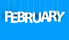 Белое слово ФЕВРАЛЬ - сформулируйте смертную казнь через повешение на веревочках на голубой предпосылке Новый Год иллюстрации иллюстрация вектора