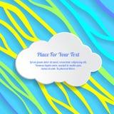Белое текстовое поле облака на красочном конспекте выравнивает предпосылку волнисто иллюстрация вектора