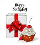 Белое boxt подарка с красной лентой и пирожное с белыми сливк и вишней на белой предпосылке, иллюстрации Стоковые Фото