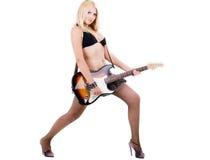 белокурая гитара сексуальная Стоковые Изображения