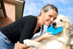 белокурая девушка собаки Стоковая Фотография RF