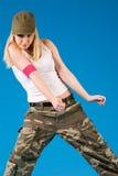 белокурая девушка танцы сексуальная Стоковое Изображение RF