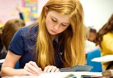 белокурая делая работа клубники математики девушки подростковая Стоковые Изображения