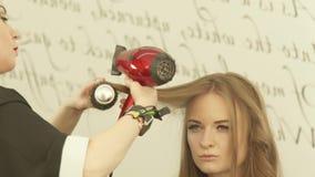 Белокурая женщина во время волос hairstyling длинных с сушильщиком и щетка для волос в салоне парикмахерских услуг Закройте вверх видеоматериал