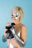 белокурая женщина маски масленицы Стоковая Фотография