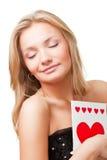 белокурая женщина открытки удерживания Стоковые Фото