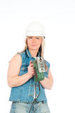 белокурая женщина работает детеныши Стоковые Изображения RF