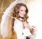 белокурая женщина сбора винограда зонтика Стоковое Изображение
