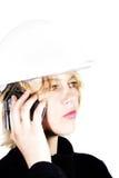 белокурая женщина телефона конструкции Стоковое фото RF