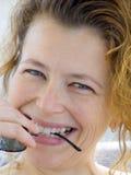 белокурая играя женщина Стоковое фото RF
