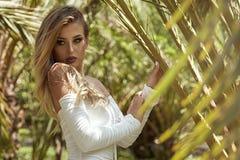 Белокурая чувственная девушка над пальмами Стоковые Фото