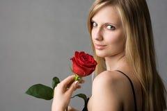 белокурое красное романтичное подняло Стоковое Изображение RF