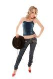 белокурое удерживание шлема девушки Стоковая Фотография RF