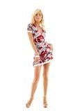 белокурое цветастое платье стоковое изображение rf