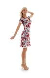 белокурое цветастое платье стоковая фотография rf