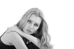 белокурое gir над белизной портрета Стоковая Фотография RF