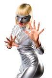белокурые детеныши женщины маски Стоковое Изображение RF