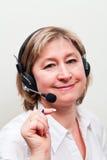 белокурые женщины центра телефонного обслуживания Стоковые Фотографии RF