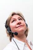 белокурые женщины центра телефонного обслуживания Стоковое Фото