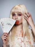 белокурый вампир девушки Стоковое Изображение RF